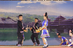 The bamboo dance of yao nationality stock image