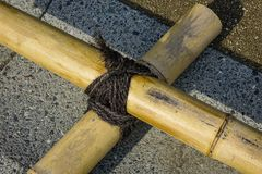 Bamboo for decorations at Japanese garden stock images