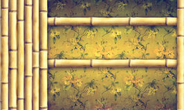 Bamboo  and decorative floral background Stock Photos