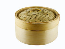 Bamboo Dim Sum Steamer. Dim Sum steamer basket made of bamboo, isolated stock photography