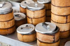 Bamboo Dim Sum steamers Stock Photography