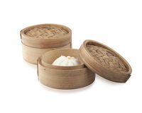 Bamboo Dim Sum Steamimg Basket Royalty Free Stock Photography