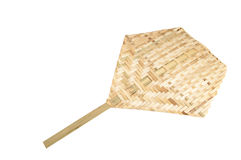 Bamboo fan at thailand. On white Stock Photos