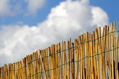 Bamboo fence with blue sky and clouds in the background Stock Photo