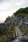Bamboo fence on the cliff at Koh Sichang,Chonburi,Thailand Stock Photography
