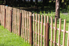 Bamboo fence. In garden Stock Photo