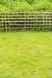 Bamboo fence with grass Stock Photo