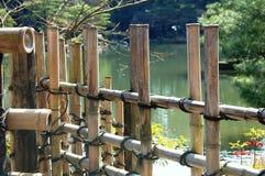Bamboo Fence by Lake stock image