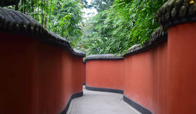 And bamboo fence. The red walls and bamboo Stock Image