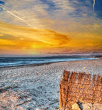 Bamboo fence by the sea in Sardinia Stock Photography