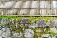 Bamboo fence on stone with green leaves  . Royalty Free Stock Image