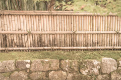Bamboo fence on stone with green leaves  . ( Filtered image proc Stock Photography