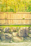 Bamboo fence on stone with green leaves  . ( Filtered image proc Royalty Free Stock Images