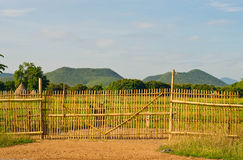 Bamboo fence. Bamboo fence with views to the mountains stock photography