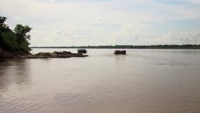Bamboo, ferry boat, Mekong, cambodia, southeast asia stock video