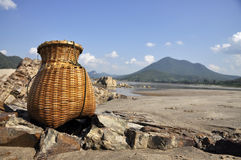 Bamboo Fish Sand River Basket Creel Royalty Free Stock Images