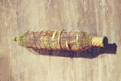 Bamboo fish trap hanging on wall decoration royalty free stock photography