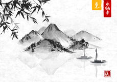 Bamboo, fishing boat and island with mountains. Traditional oriental ink painting sumi-e, u-sin, go-hua. Contains hieroglyphs - eternity, freedom, happiness Royalty Free Stock Photo