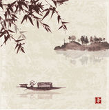 Bamboo, fishing boat and island with trees Stock Image