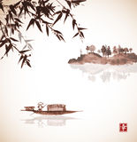 Bamboo, fishing boat and island with trees Royalty Free Stock Image