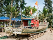 Bamboo fishing boat in Vietnam Stock Images