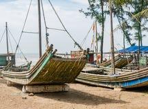 Bamboo fishing boats in Vietnam Royalty Free Stock Photo