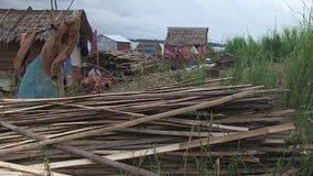 Bamboo, fishing village,wind,cambodia,southeast asia stock footage