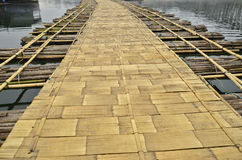 Bamboo floor of floating bridge Royalty Free Stock Images