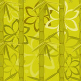 Bamboo and flowers pattern Stock Photo