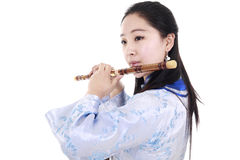Bamboo flute performer Royalty Free Stock Photo