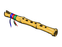 Bamboo flute. This is quena - traditional longitudinal andean flute. Vector art stock illustration