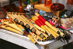 Bamboo flutes I. Bamboo flutes made in papantla town, located in the mexican state of veracruz Royalty Free Stock Photography