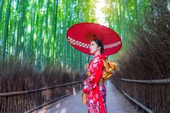 Bamboo Forest. Asian woman wearing japanese traditional kimono at Bamboo Forest in Kyoto, Japan Royalty Free Stock Photos