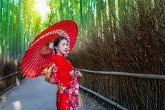 Bamboo Forest. Asian woman wearing japanese traditional kimono at Bamboo Forest in Kyoto, Japan Stock Photos