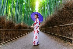Bamboo Forest. Asian woman wearing japanese traditional kimono at Bamboo Forest in Kyoto, Japan royalty free stock image