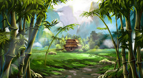 Bamboo Forest. The House, The Mountain. Video Game`s Digital CG Artwork, Colorful Concept Illustration, Realistic Cartoon Style Background royalty free illustration