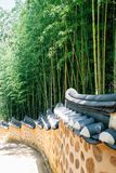 Bamboo forest and Korean traditional stone wall street. Bamboo forest and Korean traditional stone wall royalty free stock images