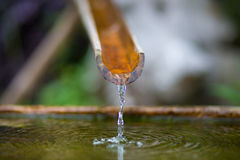Bamboo fountain with water in a temple Stock Photos