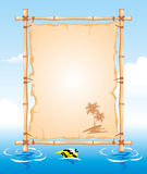 Bamboo Frame. With worn Cloth Sign Stock Photos
