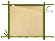 Bamboo frame. Illustration of bamboo frame with leaves and paper Royalty Free Stock Image