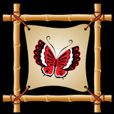Bamboo frame with butterfly Royalty Free Stock Photography
