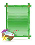 Bamboo frame and coconut vector illustration Stock Photography