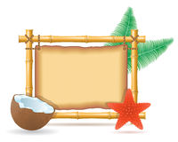 Bamboo frame and coconut vector illustration Stock Image