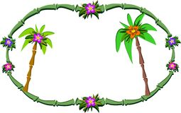 Bamboo Frame with Flowers and Palm Trees Royalty Free Stock Image