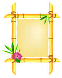 Bamboo frame with hibiscus flower and leaves. Isolated on white Royalty Free Stock Photos