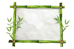 Bamboo frame with realistic paper background Stock Images