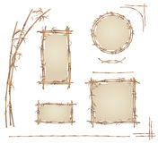 Bamboo frame. Set of bamboo frames and design elements from the stems of bamboo, brown tones, illustration vector illustration