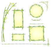 Bamboo frame 2. Set of bamboo frames and design elements from the stems of bamboo, green tones,  illustration Stock Photography