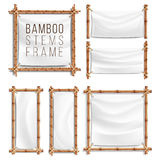 Bamboo Frame Set Vector With Canvas. Wooden Frame Of Bamboo Sticks Swathed In Rope. Banner Template Royalty Free Stock Photos