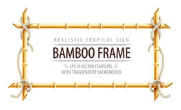Bamboo frame template for tropical signboard. With ropes and copypaste place text. On white transparent background. Vector illustration Royalty Free Stock Images